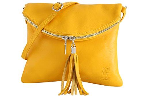 AMBRA Moda Italienische Ledertasche Schultertasche Crossover Umhängetasche Nappaleder Damen Kleine Tasche NL610 (Gelb)