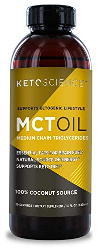 Keto Science Ketogenic MCT Oil Dietary Supplement, Made from 100% Coconuts, Sustained Natural Energy, Helps Burn Fat and Weight Loss, Unflavoured, 15 Fl Oz