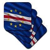 3dRose Untersetzer, Motiv Flagge von Kap Verde winkt im Wind, weich, 8 Stück (CST_178751_2)
