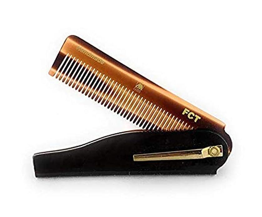 句かご盲目GBS Men's Folding Anti-Static No Snag All Purpose Hair and Beard Tortoise Comb- Handmade Sawcut - 100mm Fine Teeth with Pocket Clip Best Travel Comb Professional Choice [並行輸入品]