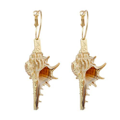 Ohrring Dame,Böhmen Shell Lange Anhänger Ohrringe Natürliche Asymmetrische Einzigartige Conch Ohrringe Strand Bikini Schmuck Charm Mode Tropfen Baumwinkel Ohrringe Schmuck Für Frauen Damen