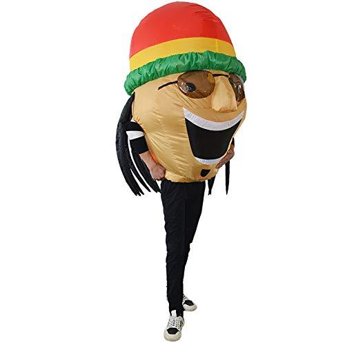 thematys Traje Inflable de Reggae de Jamaica - Divertido Disfraz de Aire para Adultos 165cm-185cm Carnaval, Despedida de Soltero o Halloween