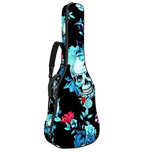 Funda gruesa para guitarra eléctrica con diseño de calavera negra y azul,...