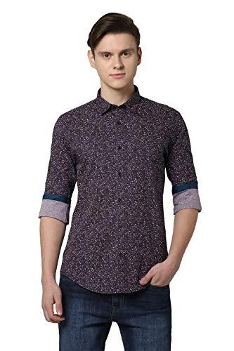 Peter England Men's Printed Slim fit Casual Shirt (PCSFCSSPQ10588_Dark Purple 40)