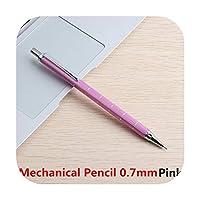 金属シャープペンシル0.5 0.7ミリメートルHBリードホルダー製図描画鉛筆学校オフィスリード執筆ギフト文房具ペン-Pink Writing 0.7mm-