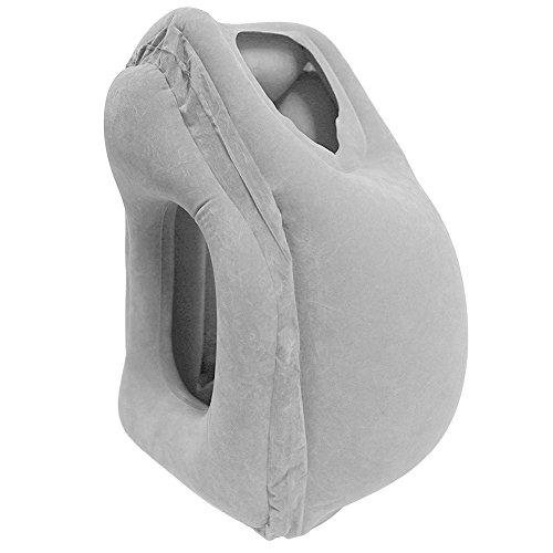 Goodpillow 移動用エアピロー トラベルピロー 携帯枕 抱き枕 膨らせる型 お肌に優しい生地 ベージュ