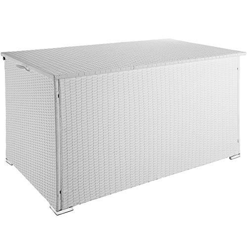 TecTake 800715 Aluminium Polyrattan Auflagenbox, wetterfeste & rostfreie Konstruktion, mit Gasdruckfedern, 750 Liter, 145 x 82,5 x 79,5 cm – Diverse Farben - (Weiß | Nr. 403277)