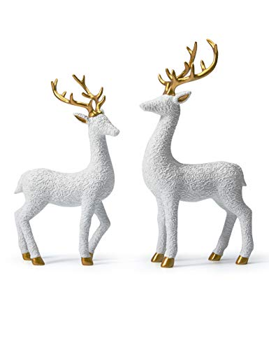 HAUCOZE 2pcs Figurine Decor Deer Statue Reindeer Stag Modern Animal Sculpture for Home Birthday Gifts Arts Polyresin White 30cmH