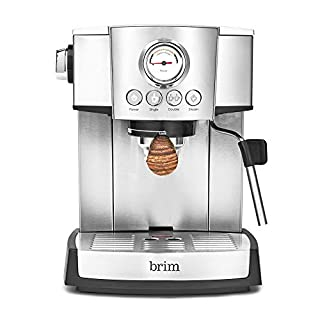 Brim 15 Bar Espresso Machine, Fast Heating Cappuccino, Americano, Latte and Espresso Maker, Milk Steamer and Frother, Removable Parts for Easy Cleaning, Stainless Steel/Wood Accents (B07YN8JRP6) | Amazon price tracker / tracking, Amazon price history charts, Amazon price watches, Amazon price drop alerts