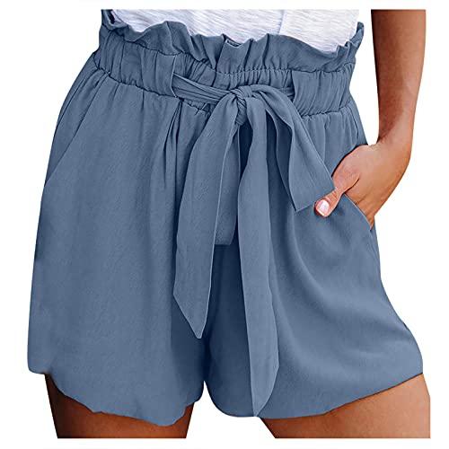 FOTBIMK Pantalones cortos de mujer cintura elástica lazo bolsillos de color sólido pantalones cortos casuales cintura alta pierna ancha pantalones cortos playa