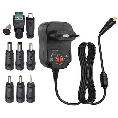EasyULT 12W Adattatore di Alimentazione, Alimentatore Switching CA/CC Universale con 8 Spine, per 3V-12V Elettronica Domestica, 1000 mA Max (Nero)