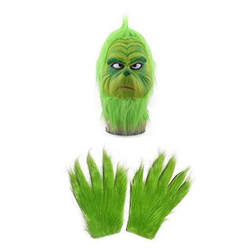 PENGSHAO Disfraz de Grinch Mask Cosplay Navideño Equipar Accesorios con Guantes Zapatos Adulto Niños Partido Casa Disfraces Monstruo Verde Ropa Adulto Niños,Cmask+Gloves