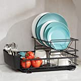 2 Tier Dish Rack and Drainboard Set, Large Dish Drying Rack with Drip Tray Utensil Holder Stylish and Well Made Countertop Organizer Set