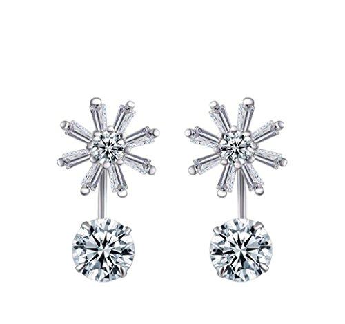 Aooaz donne orecchini S925 fiocco di neve bianco orecchini separabili 1 paio orecchini di cristallo per le donne matrimonio