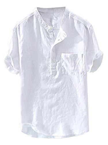 Mens Henley T-Shirt Linen Cotton Shirts Button Up Beach Tops Casual Short Sleeve Lightweight Plain Tees