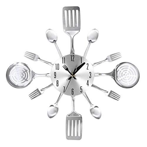 B Blesiya Edelstahl Besteckuhr Küchenutensilien Uhr Wanduhr Geschenk - Silber