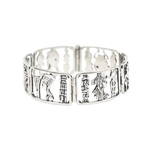 Pulsera egipcia de Plata con Motivos e imágenes del Antiguo Egipto