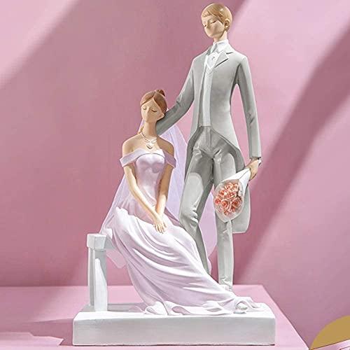 GAOYINMEI Schreibtisch-Skulptur Statue Charakter Statue Skulptur Dekoration Hochzeitspaar Harz Wohnzimmer Schreibtisch Kinderzimmer Schlafzimmer Dekoration Geschenk (Farbe: C)