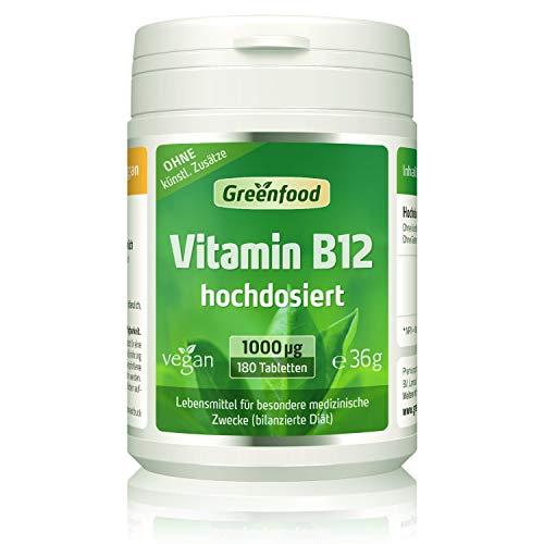 Greenfood Vitamin B12, 1000 µg, hochdosiert, 180 Tabletten, vegan – für mehr Energie. OHNE künstliche Zusätze.
