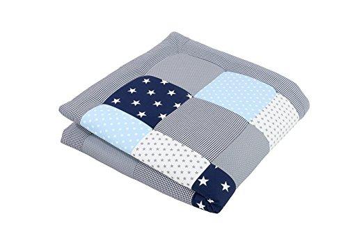 ULLENBOOM ® Baby Krabbeldecke Blau Hellblau Grau (120x120 cm Baby Kuscheldecke, ideal als Laufgittereinlage, Spieldecke, Motiv: Sterne)