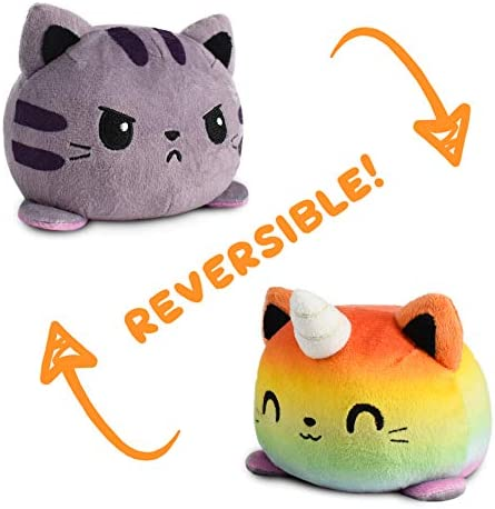 TeeTurtle The Original Reversible Kittencorn Plushie Patented Design Tabby Rainbow Show Your product image
