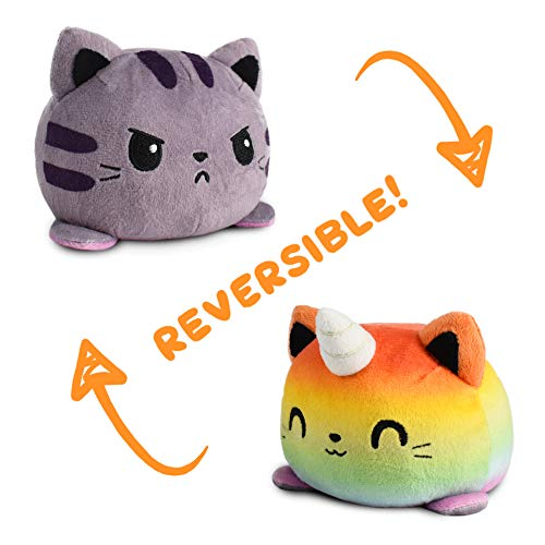 TeeTurtle | The Original Reversible Kittencorn Plushie | Patented Design | Tabby & Rainbow | Show Your Mood Without Saying a Word!