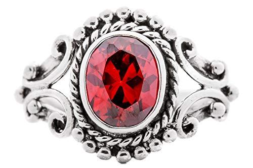 WINDALF Mittelalter Ring THØRA h: 1.5 cm Roter Granat Hochwertiges Silber (Silber, 58 (18.5))