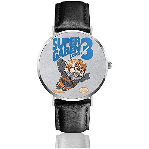 Unisex Business Casual Super Gaben Half Life Relojes Reloj de Cuero de...
