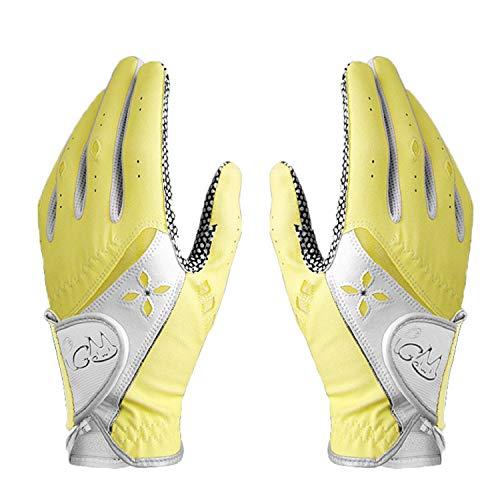 PGM Guante de golf para mujer, un par, sistema de agarre mejorado, fresco y cómodo (amarillo, 19, M)