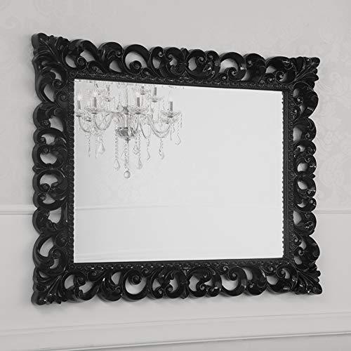 SIMONE GUARRACINO LUXURY DESIGN Specchiera Zaafira Stile Barocco Cornice Traforata Nero Laccato Specchio molato cm 107 x 87