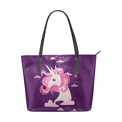 NaiiaN Handtaschen Einkaufstasche Shepherd Leder Star Night Cloud Regenbogen Einhorn Geldbörse Shopping für Frauen Mädchen Damen Student Umhängetaschen Leichter Gurt