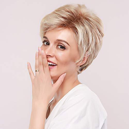 HAIRCUBE Kurze Blond Perücke Pixie Cut Flauschige Kanekalon Haar Perücken für Frauen mit Fransen