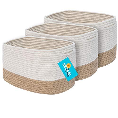 OrganiHaus 3-Pack Cotton Rope Cube Shelf Storage Baskets   Decorative Basket for Closet Storage, Home Organizing Bins and Nursery Decor   Woven Baskets for Storage Shelf - Honey   Off-White