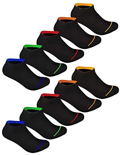 Sockenschuss 10 | 20 | 30 Paar Sneaker Socken Damen & Herren Schwarz & Weiß - Lange Haltbarkeit Dank Bester Qualität der Baumwolle (10x Black-Colored-Stripes-Mix, 43-46)