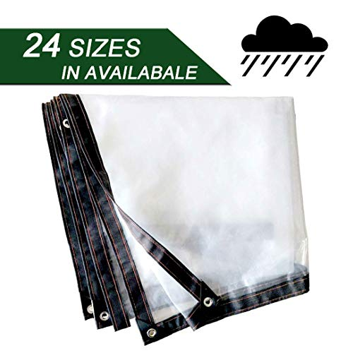 NaDrn Tarps Heavy Duty Waterproof with Metal Grommets, Clear Transparent Tarpaulin Tarps for Deck Porch Patio Canopy or Outdoor Camping Rainproof or Sun,2x3m/6.5x10ft