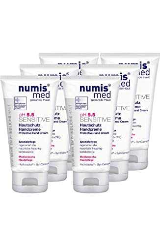 numis med Hautschutz Handcreme ph 5.5 SENSITIVE - Hautpflege vegan - Handcreme für sensible, feuchtigkeitsarme & zu Allergien neigende Haut - Hand Creme im 6er Pack (6x 75 ml)