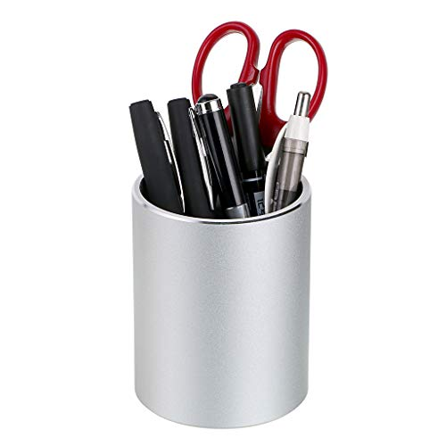 BTSKY Home Office School Simple Round Aluminum Table Desktop Counter Stationery Pen Pencil Cup Make Up Brush Container Toothbrush Organizer Holder Silver