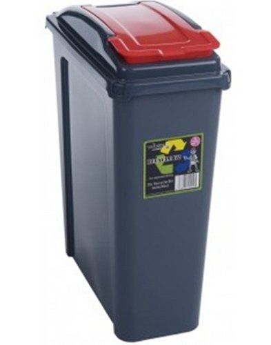 Red 25 Litre Plastic Waste Bin High Quality with Flap Lid by Wham