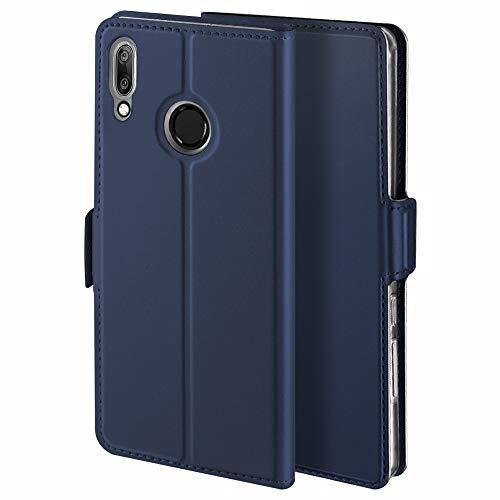 YATWIN Handyhülle für Huawei Y7 2019 Hülle Premium Leder Flip Hülle Schutzhülle für Huawei Y7 Prime 2019 Handytasche, Blau
