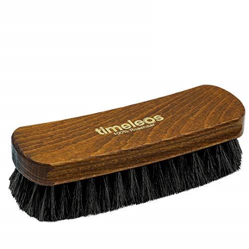TIMELEOS Schuhbürste aus Rosshaar für optimale Schuhpflege | Rosshaarbürste | Glanzbürste | Schuhputzzeug | Schuhpolierbürste | Schuhe | Herren Dunkel