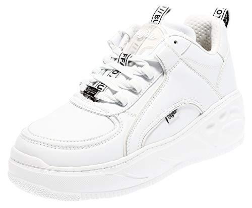 Buffalo Damen Platform-Sneaker Flat SMPL Weiß Synthetik 40