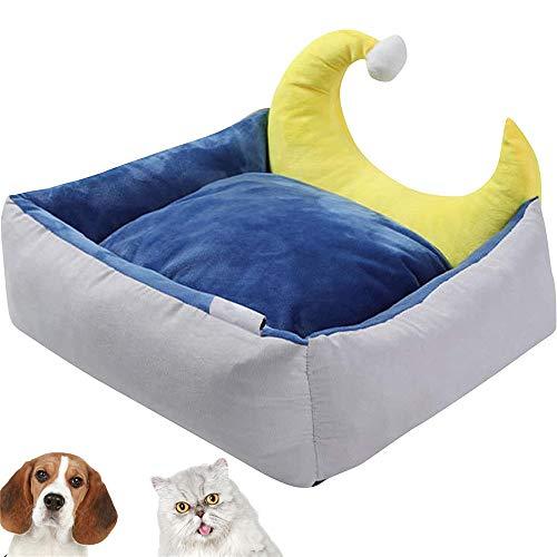 TTBD Hundebett Netter Mond-Entwurf Katzenkorb, Haustierbett Mit Wendekissen Waschbare Hundehütte Durable Couch Abdeckung Bett Hundekörbe Sofa Durable,Grau,22x18x7