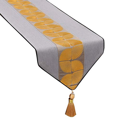 Tafelloper, tafelloper, polyesterweefsel, prachtige druk, handgemaakt kwastdesign, modern Europees tafelkleed, 34 x 120~320 cm naar keuze ++ 34X260cm grijs