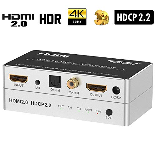 HDMI 2.0 Audio Extractor, Distribuidor Audio HDMI 4K óptico Spdif Toslink Coaxial y Convertidor Audio estéreo 3,5mm compatible con 4K@60Hz HDCP 2.2 HDR 3D para Reproductor Blu-ray DVD PS4 Xbox One