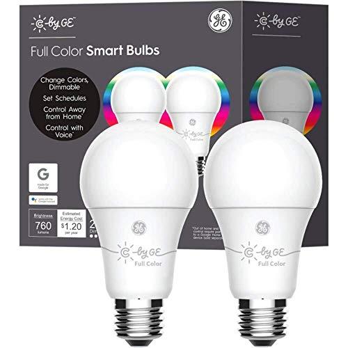 GE+93106796+A19+Bluetooth+Smart+LED+Light+Bulb+(2+Pk.)+-+Multicolor