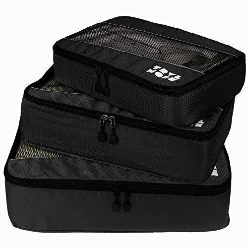 Packing Cubes Set - Koffer Baggage Organizer - Inpak Kubussen - Pack Compression Cubes - Travel Bag Ordening - Reis Accessoires - Tas Opbergzakken - 3 Stuks - Zwart