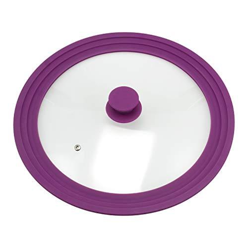 bremermann Tapa de Cristal Universal con Borde de Silicona, 30/32/34 cm, Grande (Violeta)