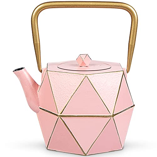 Cast Iron Teapot, TOPTIER Japanese Cast Iron Tea Kettle for Stove Top, Stovetop Safe Teapot with Infusers for Loose Tea, 30 oz (900 ml), Pink