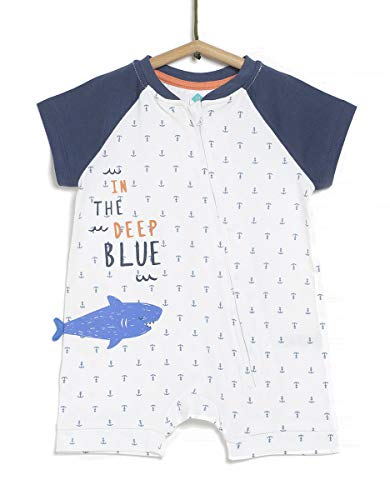 TEX - Pijama Corto Estampado de Bebé, Blanco Neutro, 3 Meses