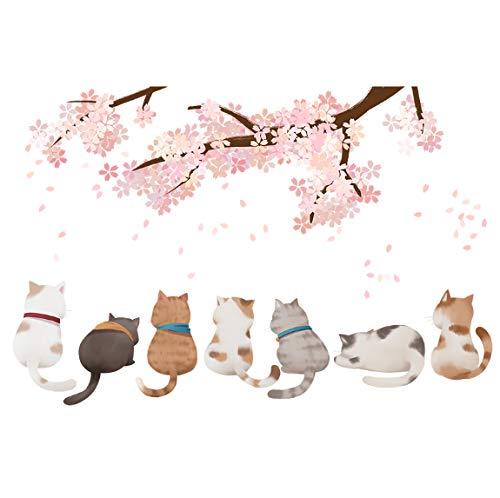 Cartoon Katzen Tiere Wandaufkleber Diy Oriental Cherry Wandtattoos Für Haus Kinder Schlafzimmer Baby Raumdekoration